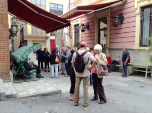 In the courtyard of Hotel Candiani