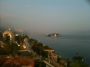 A view from the hotel of some of the islands of Lago Maggiore